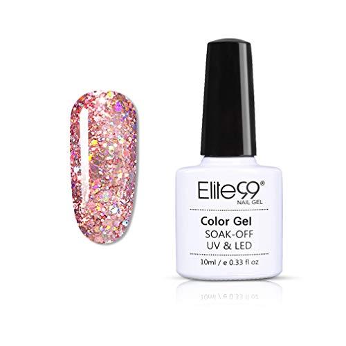 Elite99 Esmaltes Semipermanentes de Uñas en Gel UV LED, Nueva Selección de Colores Brillantes de Estrellas, Glitter Gel de Esmaltes de Uñas 10ML 008