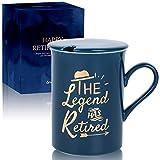 I migliori regali unici per la pensione - 300 ml tazza da caffè con coperchio: tazza in pensione per papà, mamma, polizia, insegnante, capo, pensionati bavaglio regalo per uomini e donne (Blue Legend)