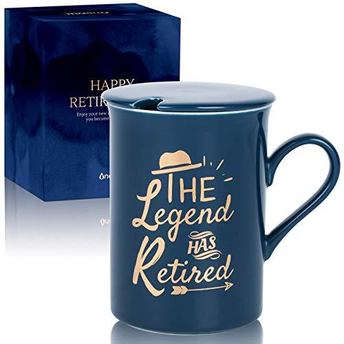 Taza de café con tapa para papá, mamá, policía, profesor, jefe, compañeros de trabajo, regalo para hombres y mujeres (azul, leyenda)