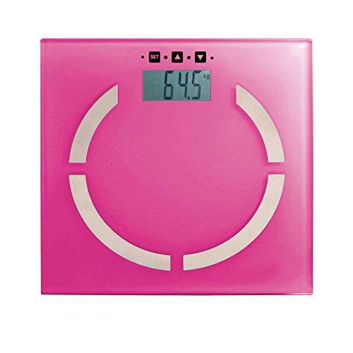 Bilancia pesapersone digitale grasso corporeo con analisi grasso corporeo Bilancia digitale (spegnimento automatico, Bilancia digitale, passi da 100 g, fino a 180 kg di vetro, Rosa)