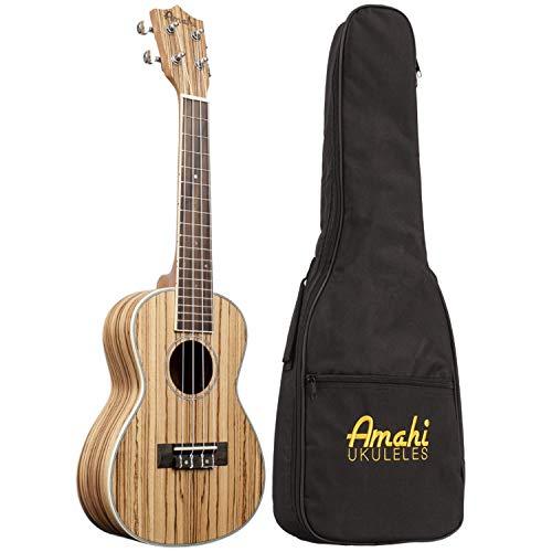 Amahi UK330C Concert Zebrawood Top, Back, Sides. Sealed Guitar Tuners Ukulele