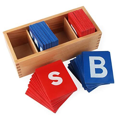 Amiispe Buchstaben sensorische Sandpapier-Bretter, Montessori Sprache hölzernes Spielzeug Alphabet Buchstaben Kasten Holz Boxen Pädagogisches Spielzeug