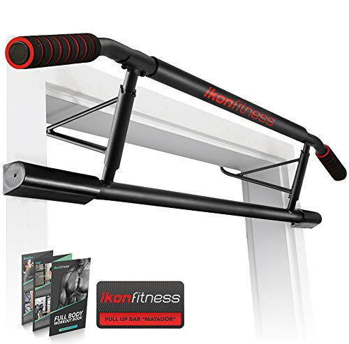 Ikonfitness Pull Up Bar Max with Ergonomic Grip - USA Original Patent, USA Designed, USA Shipped, USA Warranty, Black