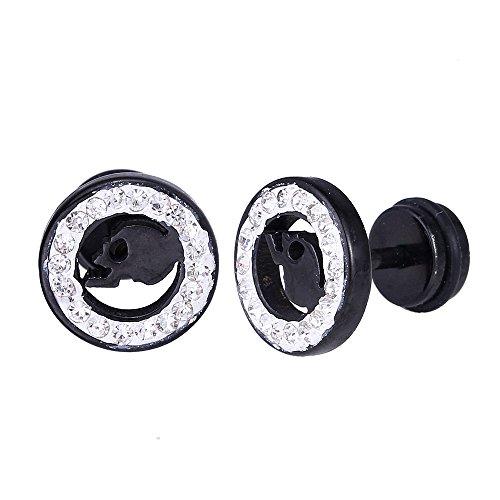 Chic-Net Falso dilatador de acero inoxidable negro y blanco con borde de circonita y calavera negra