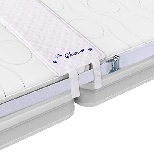 """The Samuel Bed Bridge Twin to King Joiner Kit with 4 Sheet Clips - Easy Mattress Connector with 10"""" Wide Gap Filler Wedge - Twins, Full, Queen Size Converter with Long Strap for Guest Rooms, Rentals…"""