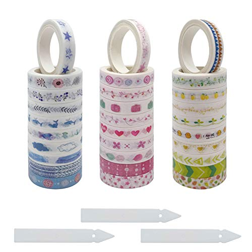 SwirlColor Washi Tape Set, Washi Masking Tape Bunte Abnehmbare Washi Tapes 30 Rollen, mit Washi Tape Dispenser 3St