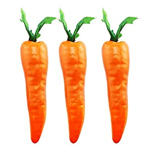 Tegg Artificial Carrot 3PCS Simulation Carrots Artificial Vegetables for Party Home Kitchen