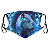 Wolf Printed Unisex Dust Mouth cover Face cover,Black,Medium
