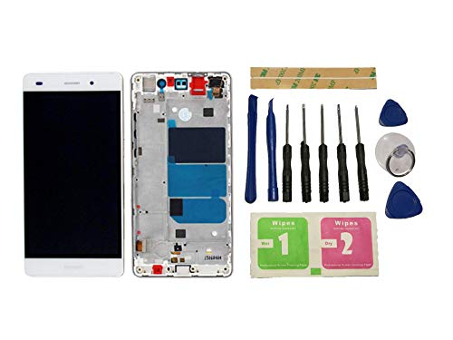 Flügel für Huawei P8 LITE ALE-L21(Not for Huawei P8 Lite 2017) Display LCD Ersatzdisplay Weiß Touchscreen Digitizer Bildschirm Glas Komplett Einheit mit Rahmen Ersatzteile & Werkzeuge & Kleber