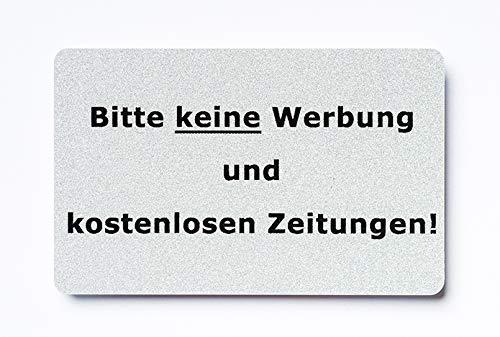 KaiserstuhlCard Magnet 2x Bitte keine Werbung magnetisch und selbstklebend Aufkleber Tür Schild Türschild Briefkasten Briefkastenschild Haus Praxis Büro Geschäft silber (8)