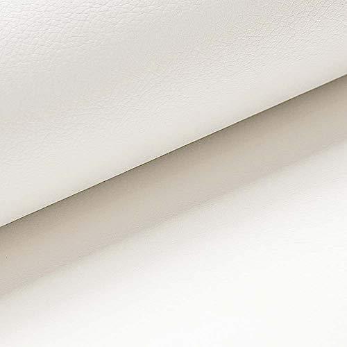 NOVELY® Soltau   1 lfm   weiches Kunstleder PU Premium Qualität Polsterstoff mehr als 100.000 Touren Echtleder-Optik Möbelstoff (31 Creme Weiß)