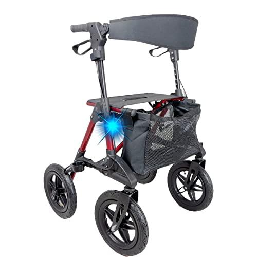 Aluminium Crosser Rollator mit Luftreifen perfekt für Gelände und Outdoor-Aktivitäten.