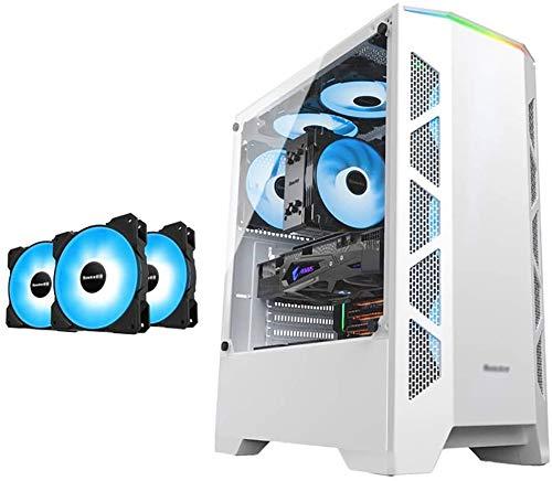 Wyl PC Gaming IR? Uso, Mid Tower ATX/M-ATX/ITX PC Funda de Equipo de Juegos, 4mm Que sostiene la Pared Lateral de Vidrio, la Barra de luz RGB, el Ventilador Azul, para la computadora de la PC de e