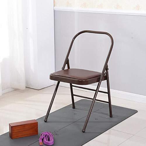 Klappstühle Yoga Stühle Starker Stahl Leder Rückenfrei Standard Prop Übe Die Asana-Aktivität CJC (Color : Coffee Color)