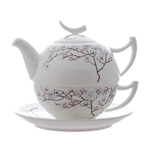 TeaLogic Tea for One Set White Cherry - Fine Bone China