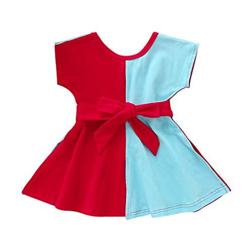 Xmiral Kleinkind Kinder Mädchen Farbblock Kurzarm A-Linie Kleid mit Gürtel Baby Neugeborenen Gürtel Kleider Beiläufig Outfits Kleidung(Blau,4-5 Jahre)