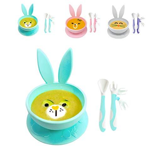 Brunoko Plato para bebe con babero (Green bowl + spoon)