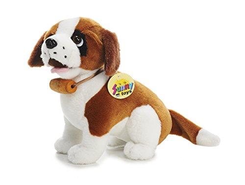 Sunny Toys 30006 - Peluche San Bernardo con fiaschetta, Seduto, Circa 24 cm