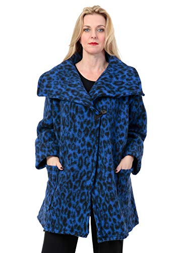 AKH FASHION Kurzmantel Wolle Damen Animal Print Leo, Oversize Jacke blau Damen große Größen A-Linie, XXL Mantel Damen gestreift