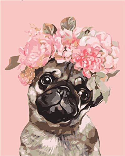 Pintar por Numeros Kits Diy Pigmentos Acrílicos Pintura al Óleo para Adultos Niños Perro Mascota Rosa Pintura por Numeros con 3 Pinceles y Lienzo Decoraciones para el Hogar 40x50cm con Marco