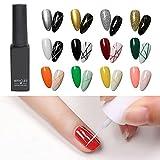 Frenshion 12Pcs Kit Set 8ML Clásico DIY 3D Diseños de uñas de gel esmalte de uñas de gel pintado, pintura, dibujo, UV, LED, delineador de gel, lápiz de esmalte, lápiz de línea para salón de manicura
