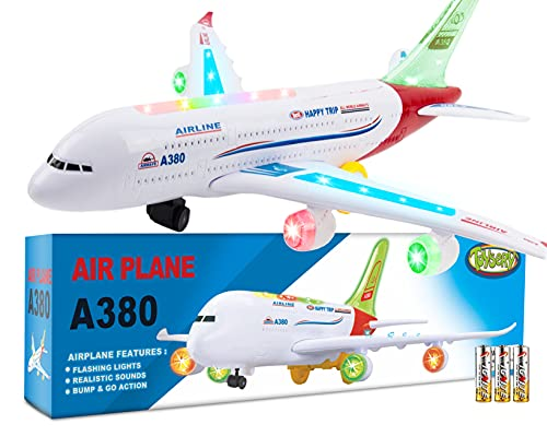 Toysery Airplane Toys for Kids, Bump and Go Action, Toddler Toy Plane with LED Flashing Lights and...