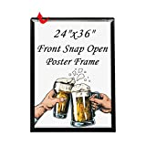 T-SIGN 24 x 36 Inch Poster Frame Front Snap Open Aluminum with 1 PVC Transparent Protective Film, 1' Profile Black Wall Mounted Display Picture/Photo, More Convenient