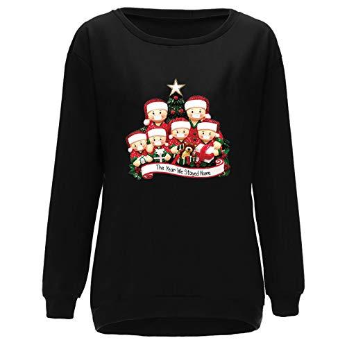 HJFR 2021 - Camiseta de manga larga para mujer, diseo de Navidad Noir9 XL