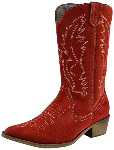 Cowboystiefel für Frauen Leder Western Cowgirl Schuhe Rot - Größe: EU 36