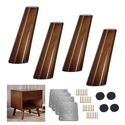 AQWESD Table Leg 4X Solid Wood Kitchen Furniture Foot, Oblique Cone Sofa feet, Spare Walnut Table Legs, for Reclining Sideboard for Coffee Table, Option