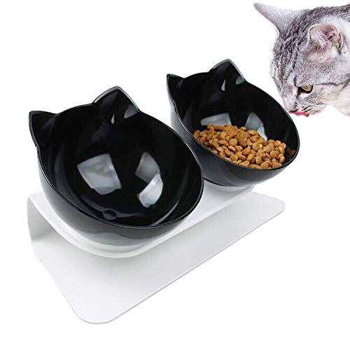 WELLXUNK Futternapf für Katzen, Doppelnapf für Katzen mit Angehobenem Ständer 15 ° Geneigt Katzennäpfe, Futternapf Katze Erhöhte Futternapf, für Katzen Und Kleine Hunde