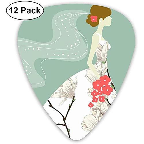 Bride Wedding Dress Plektren 12 Ukulelen-Plektren, einschließlich 0,46 mm, 0,71 mm, 0,96 mm Akustikgitarre