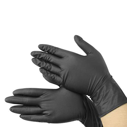 HIUGHJ Reinigungswerkzeug 1 stücke / 2 stücke / 3 stücke WaschenKomfortable Gummi EinwegLatexhandschuheGartenhandschuhe Für Zuhause Handschuhe Schwarz Nitril Geschirrspülhandschuhe, 50, S