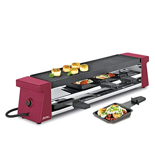 Spring Raclette 4 Compact Rot mit Alugrillplatte, Gusseisen, 150 x 10 x 11.5 cm