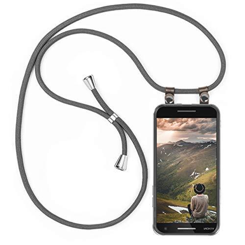 moex Handykette kompatibel mit Nokia 2.1 Hülle mit Band Längenverstellbar, Handyhülle zum Umhängen, Silikon Hülle Transparent mit Kordel Schnur abnehmbar in Grau