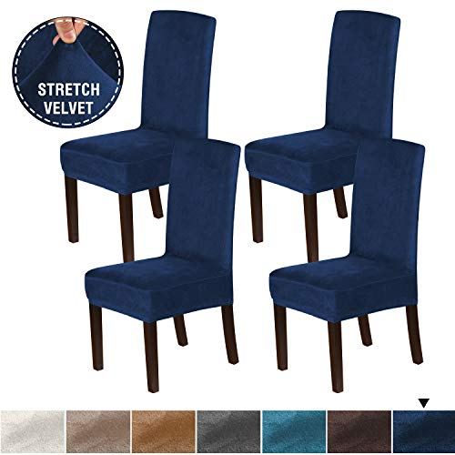 H.VERSAILTEX 4PCS Real Velvet Dining Room Chair Slipcovers Super Stretch Spill Resistant Removable Washable Anti-Dust High Dining Chair Protectors Slipcovers Dining Chair Covers(Navy)