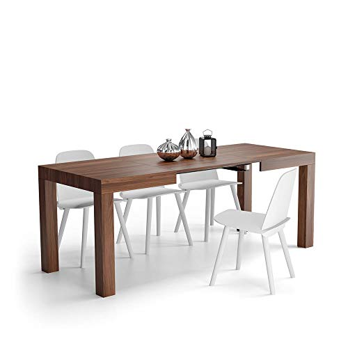 Mobili Fiver, Mesa de Cocina Extensible, Modelo First, Color Nogal, Aglomerado y Melamina, Made in Italy