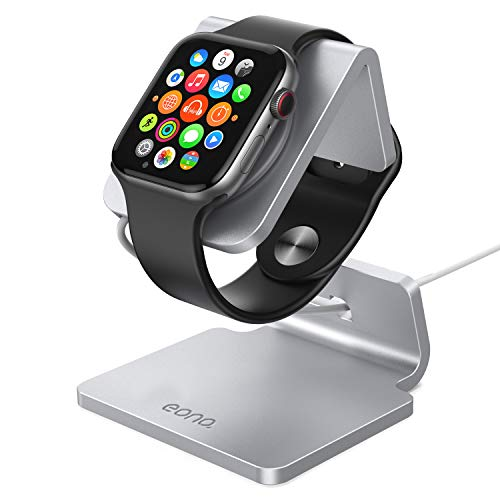 Eono Essentials Ladestation für Apple Watch, Charging Dock Station : Halterung Ständer kompatibel mit Apple Watch Series 4, Series 3, Series 2, Series 1 - Silber