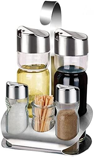 Jajayang 5 Pieces of Stainless Steel Oil pan Set, Salt Oil and Vinegar Rack with Toothpick Box, Edible Oil Dispenser Bottle of Vinegar