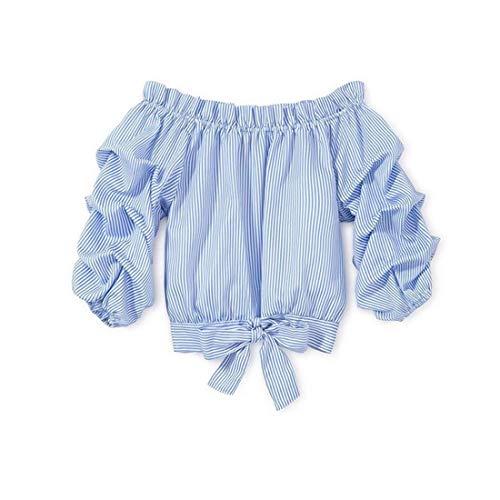 Mericiny 3-10Y - playera de tirantes para bebé con nudo frontal de rayas, Azul, 10-11 Años