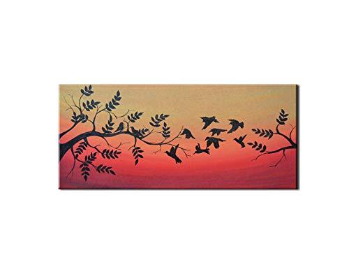Cabecero cama cuadro puesta sol árbol pintado