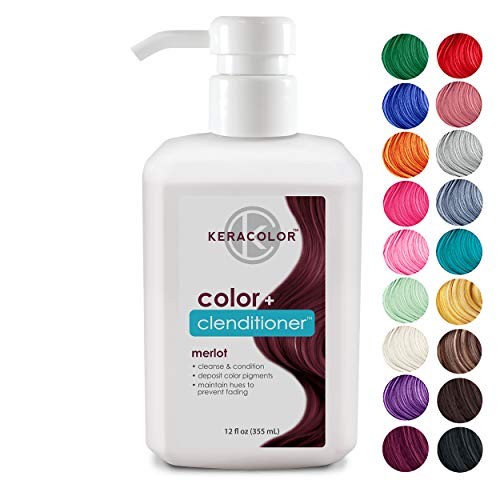 Keracolor Clenditioner MERLOT Hair Dye - Depositing Color Conditioner Colorwash, Semi Permanent, Vegan and Cruelty-Free, 12 fl Oz