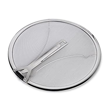 "Culina Premium 13"" Stainless Steel Splatter Screen resting feet with Hinged Folding Handle"