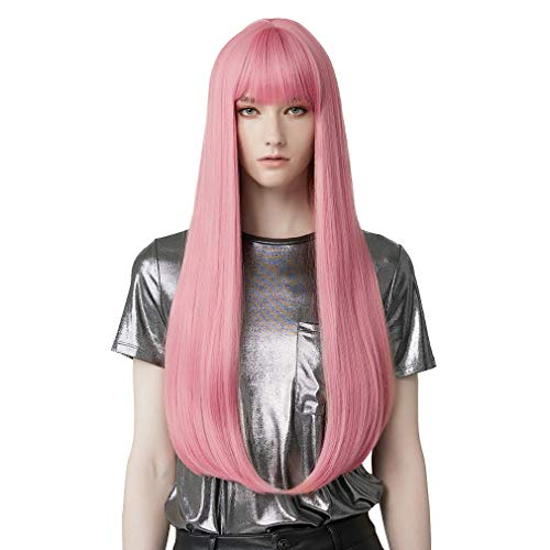 REECHO 28' Super Long Straight Wig with bangs Synthetic Hair for Women Cosplay Color: Princess Pink