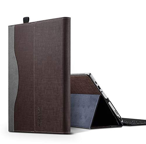 Honeymoon Lenovo Miix 525/510/520/ Miix 5 Plus 12' Case, PU Leather Folio Stand Tablet Case Cover Compatible with Lenovo Miix 5 Plus 12.2 Inch 2-in-1 Tablet Cover,Coffee