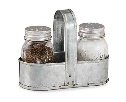 Mud Pie Fresh Jar Salt and Pepper Caddy Set, Silver