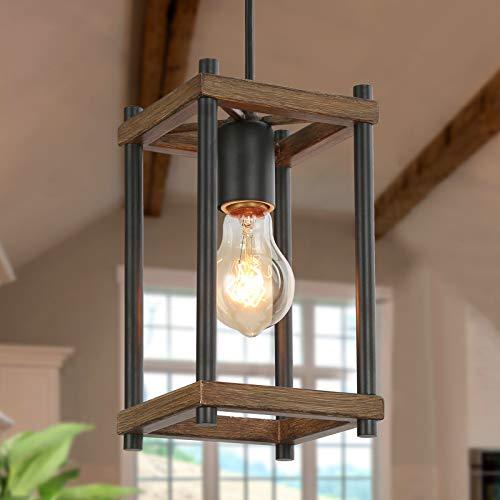 KSANA Pendant Lighting for Kitchen Island, Faux-Wood Pendant Light, Farmhouse Lighting for Dining, Foyer, Entry, Living Room