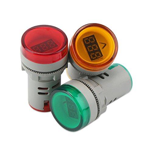 Alarma intermitente con indicador de luz piloto de 12 V de CA amarillo Sourcingmap 2 Pack LED rojo amarillo y verde con zumbador