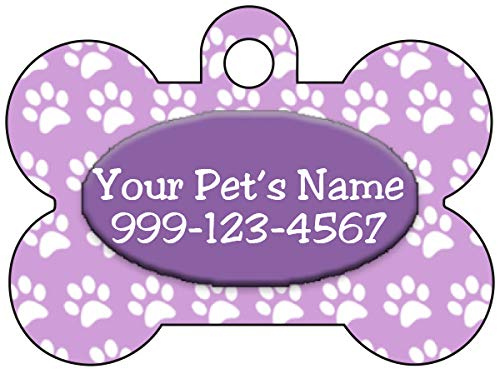 Personalized Dog Tag Pet ID Tag Paw Prints w/Name & Number (Purple)