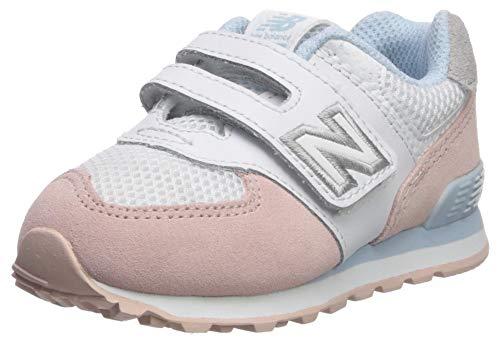 New Balance 574, Entrenadores para Bebés, Blanco White/Pink, 21 EU